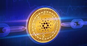 Golden Cardano coin with wireframe chain.