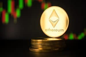 Stack of golden coins with ethereum symbol
